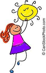 sunshine girl - little girl reaching for the sun - toddler...