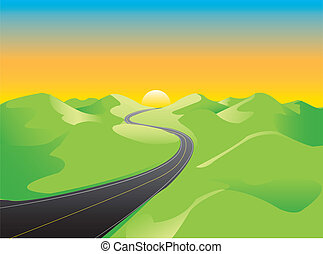 Landscape of rural road moving through green hills toward a shiny horizon. Linear gradients are included. Created from an original drawing. Vector file items are grouped and layered for easy editing.