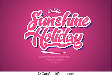 sunshine holiday word text typography pink design icon