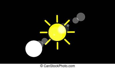 Sunshine icon animation with black background. Animation...