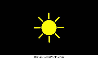 Sunshine icon animation with black background. Animation with Alpha (transparent background) for easy use in your video! Format: Quik Time. Channels: RGB+Alpha. Video Codec: Apple Pro Res 4444. Depth: Millions of Colors+. Icon design. Video Animation. Bright Sun Isolated Cartoon Animation. Alpha channel.