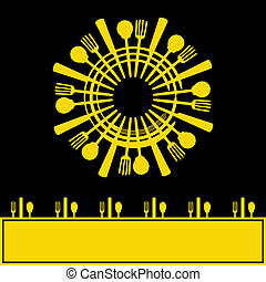 Sunshine Menu, Vector background with cutlery design in the shape of a sun