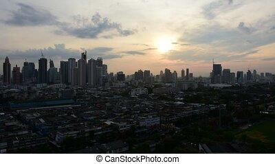 Sunshine morning in Bangkok city Thailand