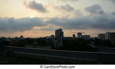 Sunshine morning time and transportation in Bangkok city Thailand, Timelapse