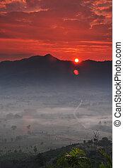 sunshine on the morning mist At Phu Lang Ka, Phayao, Thailand