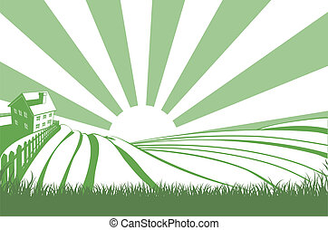 Sunshine Over Hill Fields - An idyllic farm landscape with...
