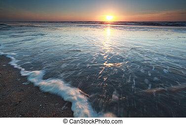 sunshine over North sea at sundown