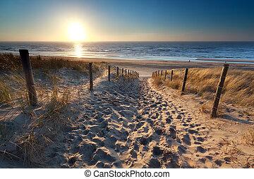 sunshine over path to beach in North sea, Zandvoort, North...