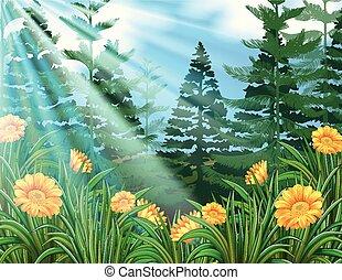 Sunshine Over the Flower Forest