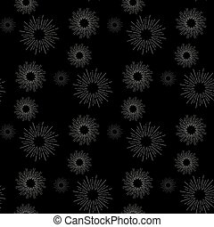 Sunshine rays seamless pattern in vintage style. Sunburst linear drawing texture. Continuous background with retro stylized symbols of sun. Sunlight outline vector illustration in EPS 10 format.
