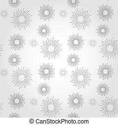 Sunshine rays seamless pattern in vintage style. Sunburst linear drawing texture. Continuous background with retro stylized symbols of sun. Sunlight outline vector illustration in EPS10 format.