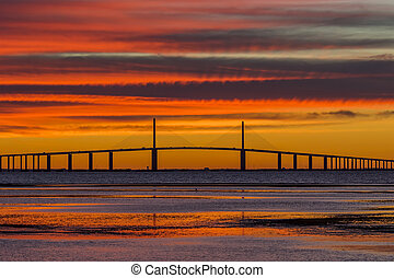 Sunshine Skyway Bridge at Sunrise