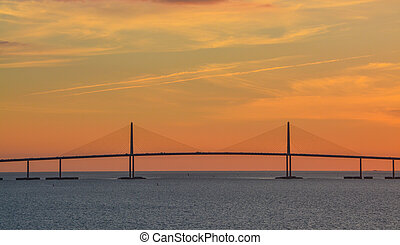 Sunshine Skyway Bridge Silhouette on Tampa Bay, Florida