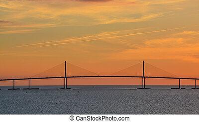 Sunshine Skyway Bridge Silhouette on Tampa Bay, Florida