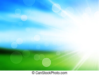 sunshine spring background with green maedow
