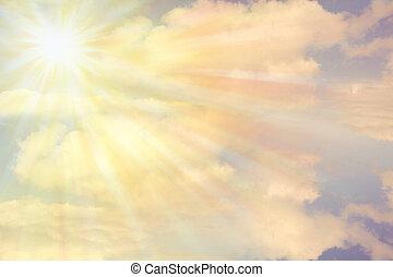 Sun shining in cloudy sky