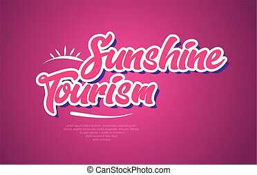 sunshine tourism word text typography pink design icon