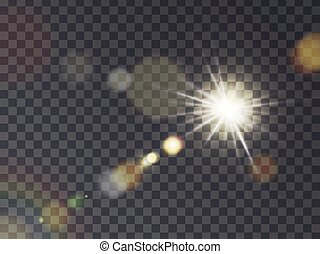 Sunshine with lens flare - Bright luminous sun with light...