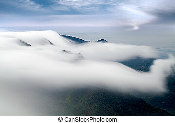 Sunshine with mountain and cloud