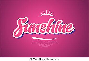 sunshine word text typography pink design icon