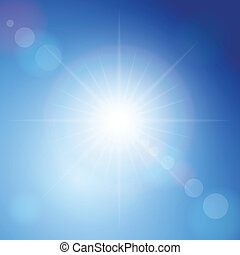Sunbeam on a blue sky. Vector illustration.