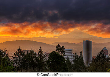 Sunsrise over City of Portland and Mount Hood