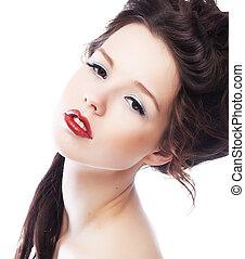 Sunsual lovely girl brunette closeup portrait