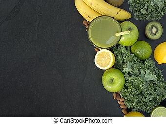 sunt uppehälle, grön, smoothie, med, frukt, och, grönsaken
