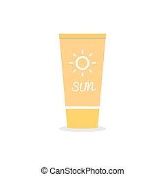 Suntan cream. Icon on isolated background