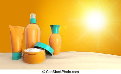 suntan cream - set of sun lotions in the sand