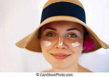 Suntan Lotion Woman Applying Sunscreen. Solar Cream.
