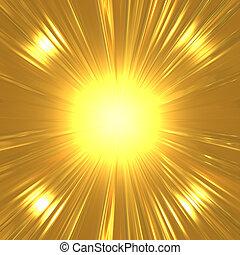 suny, ouro, fundo, abstratos