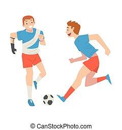 suo, addestramento, persona, palla, vettore, amico, pieno, sostegno, calcio, gioco, godere, attivo, braccio, illustrazione uomo, vita, protesi, amputato, amicizia