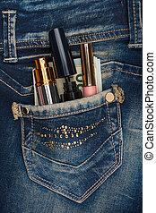 suo, appiccicare, soldi, jeans, tasca, r, cosmetica, fuori