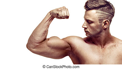 suo, biceps., esposizione, muscolare, fondo., proposta, bianco, uomo, bello