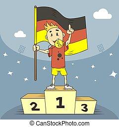 suo, campione, oro, illustrazione, mano, bandiera, germania, denti, medaglia, cartone animato