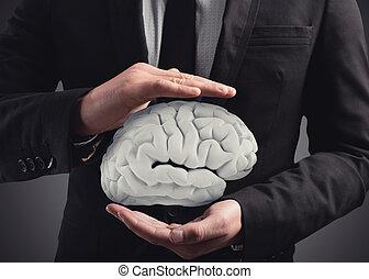 suo, cervello, interpretazione, protegge, uomo, hands., 3d