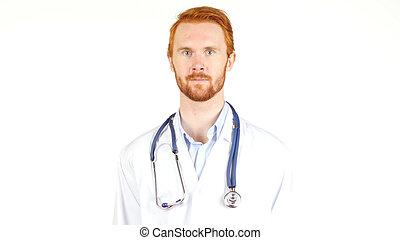 suo, collo, dottore, dall'aspetto, macchina fotografica, stetoscopio, intorno