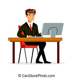 suo, computer, lavorativo, giovane, illustrazione, vettore, uomo affari