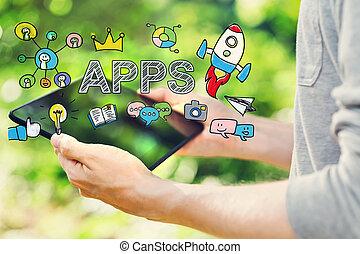 suo,  computer, tavoletta,  apps, giovane, concetto, presa a terra, uomo