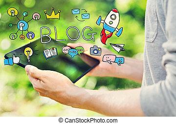 suo,  computer, tavoletta, giovane,  blog, concetto, presa a terra, uomo