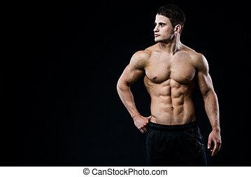 suo, copyspace, adattare, isolato, giovane guardare, muscoli, proposta, fondo, nero, modello, maschio, sinistra