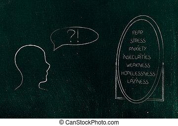 suo, elenco, negativo, confuso, prospiciente, persona, specchio, sentimenti