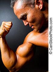 suo, esposizione, muscolare, forte, braccio, uomo