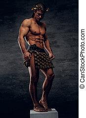 suo, esposizione, muscules, proposta, attraente, piedistallo, shirtless, uomo