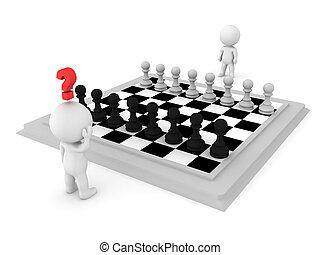 suo, fare, spostare, carattere, 3d, contro, scacchi, tentando, avversario