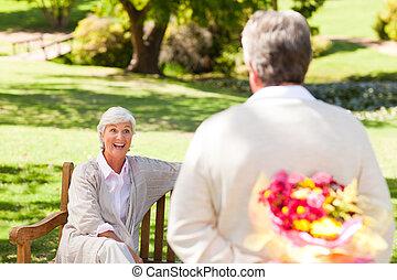 suo, fiori, offerta, uomo, pensionato