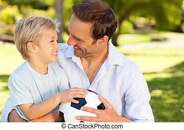suo, footbal, padre, figlio, secondo
