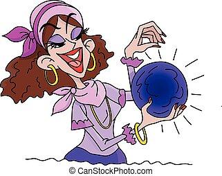 suo, fortuna, palla, cristallo, vettore, illustrazione, tenere mani, cartone animato, cassiere