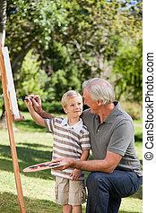 suo, giardino, nipote, nonno, pittura, felice